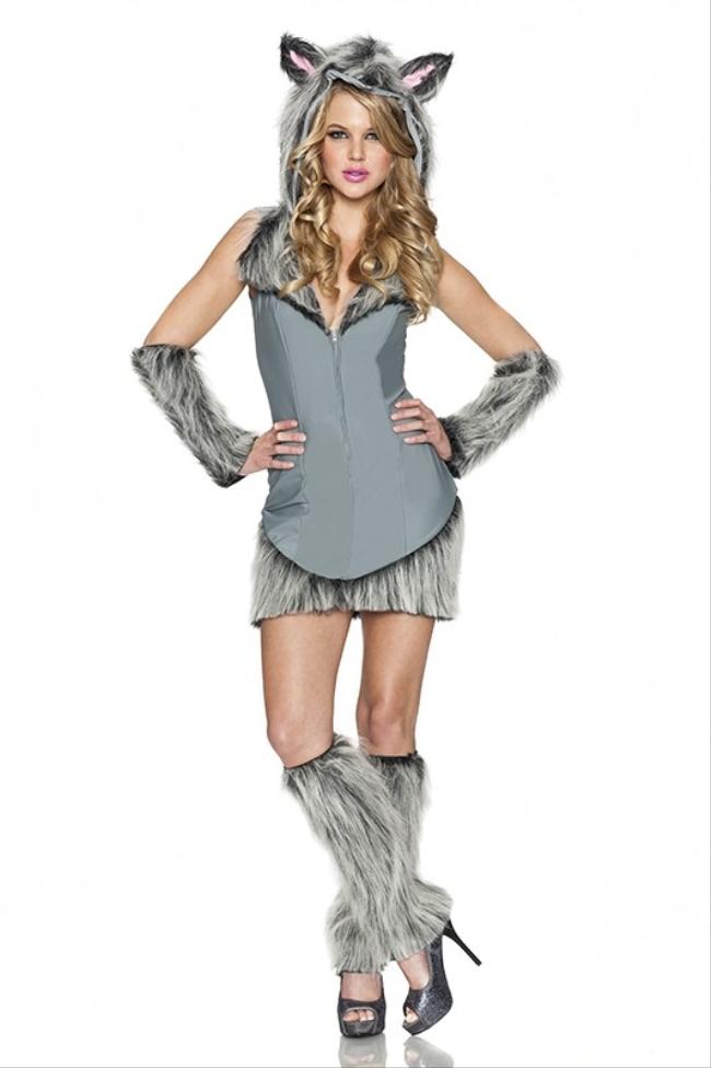 ウルフ セクシー コスチューム アダルト 3点セット コスチューム コスプレ衣装 (二次会、結婚式、仮装、パーティー、宴会、ハロウィン)大人女性用