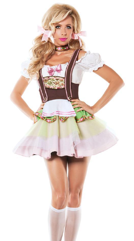 セクシーなドイツのビアガールコスチューム2点セット コスプレ衣装 (二次会、結婚式、仮装、パーティー、宴会、舞台、演劇、ハロウィン) 女性 大人用