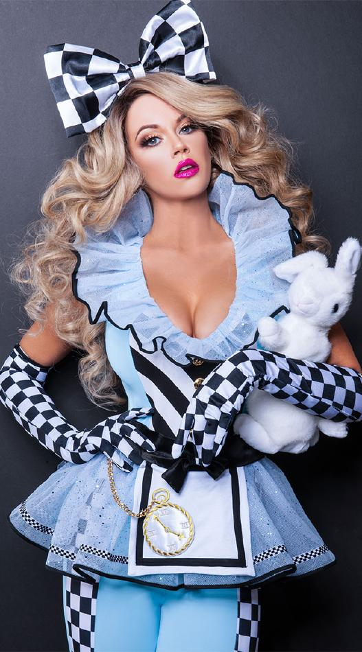 不思議の国のアリスのコスチューム2点セット コスプレ衣装 (二次会、結婚式、仮装、パーティー、宴会、舞台、演劇、ハロウィン) 女性 大人用