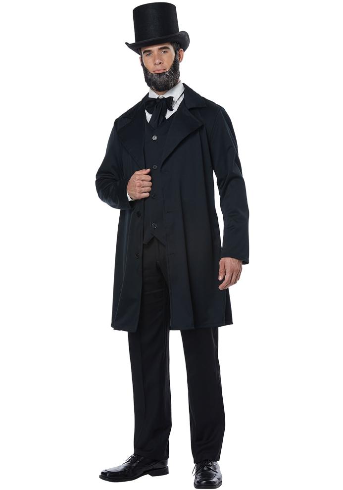 エイブラハム・リンカーン メンズ コスチューム 4点セットコスプレ衣装 (二次会、結婚式、仮装、パーティー、宴会、ハロウィン) 大人男性