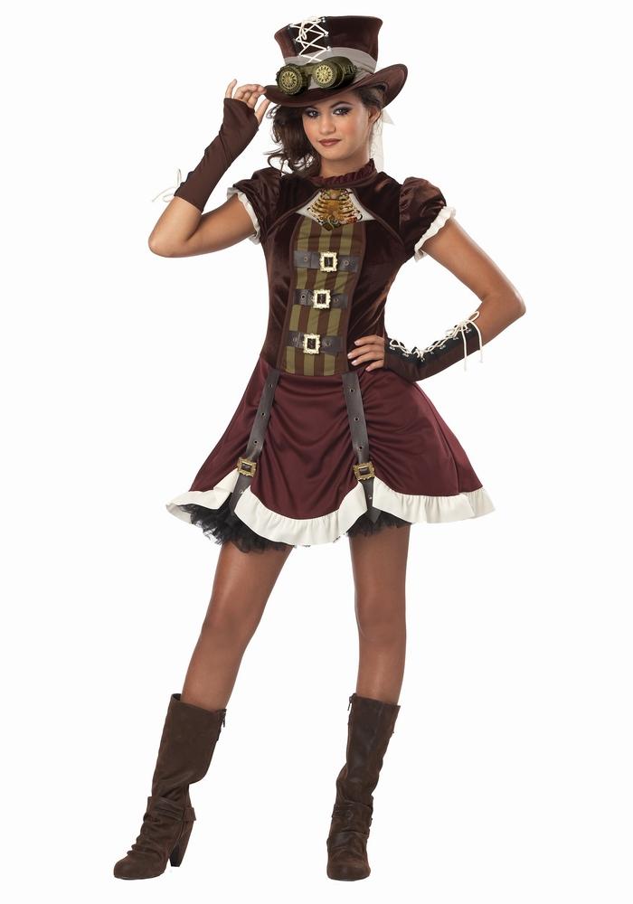 スチームパンクガール ティーン用コスチューム 3点セット 高校生 中学生 女の子 (結婚式、仮装、ハロウィン)