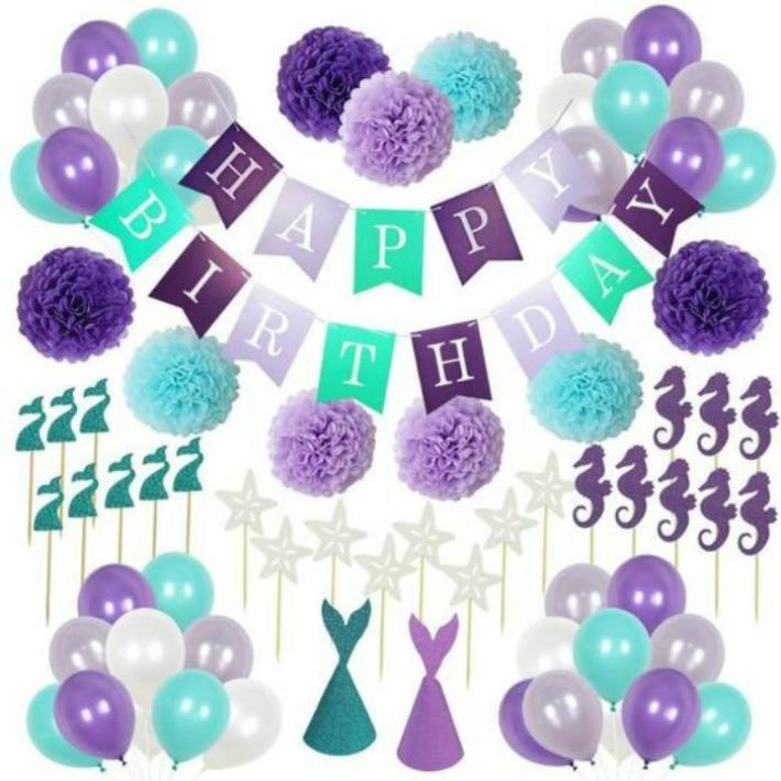 誕生日 飾り付けセット HAPPY BIRTHDAY 緑 紫 デコレーション おしゃれ 海外 ガーランド パーティーグッズ ペーパーポンポン バルーン