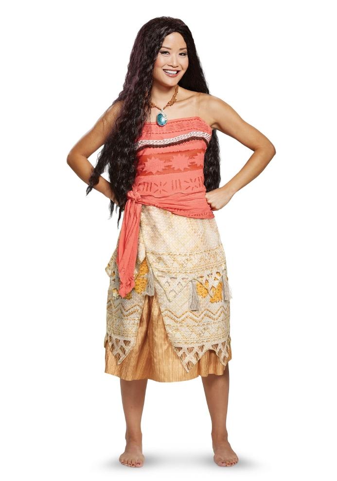 ディズニー モアナと伝説の海 モアナ レディース用コスチューム 2点セットコスプレ衣装  (二次会、結婚式、仮装、パーティー、宴会、ハロウィン) 女性