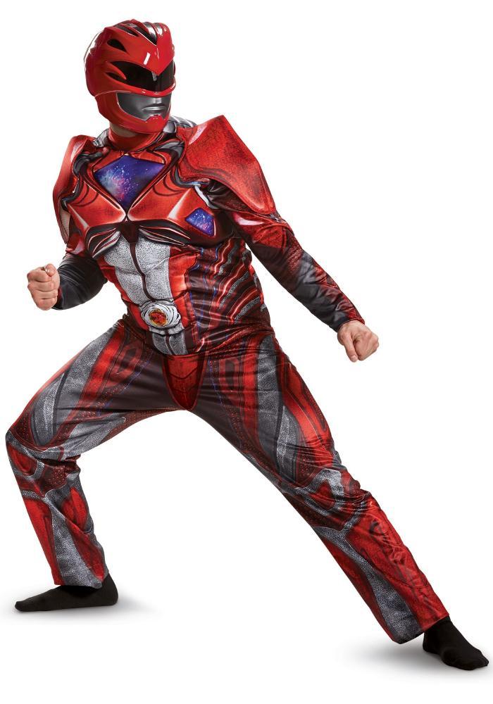 パワーレンジャームービー レッドレンジャー デラックスメンズコスチューム 2点セット 男性用 コスプレ衣装 (二次会、仮装、パーティー、ハロウィン)大人男性用