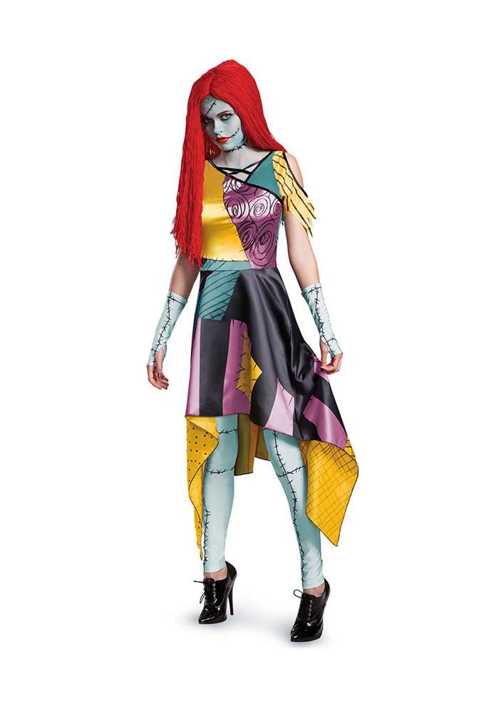 ナイトメアー・ビフォア・クリスマス サリー プレステージ レディースコスチューム 4点セット 女性用 コスプレ衣装 (二次会、仮装、パーティー、ハロウィン)大人女性用