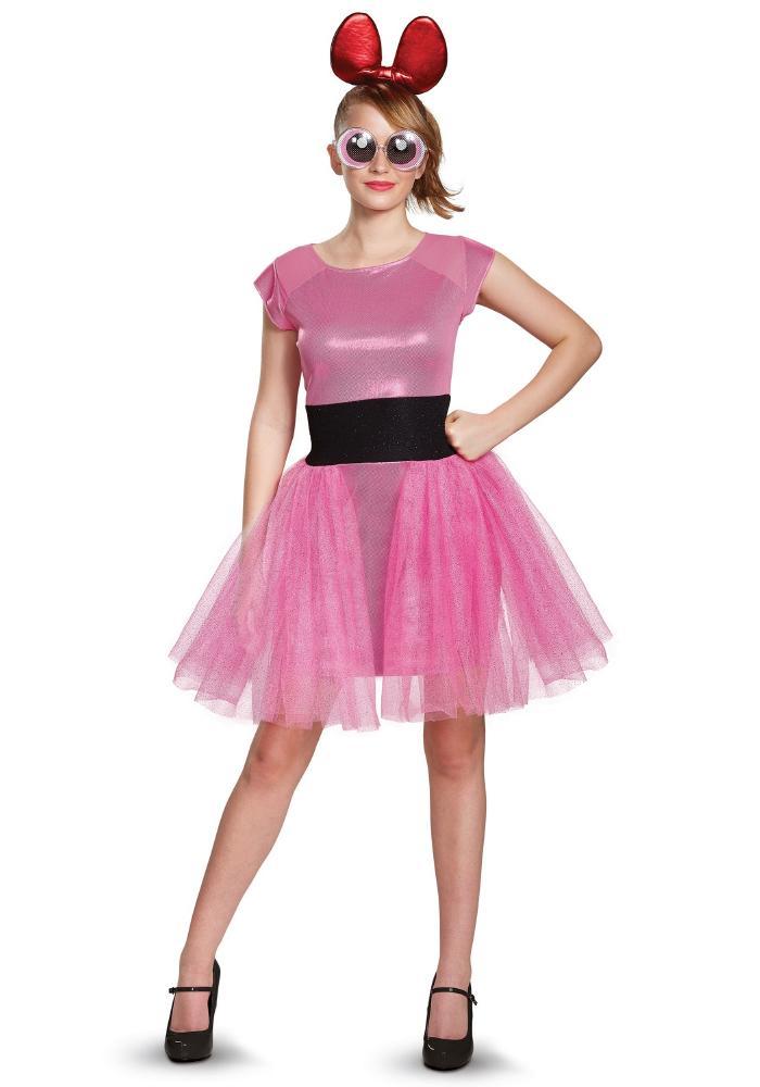 パワーパフガールズ ブロッサム デラックス アダルトコスチューム 3点セット 女性用 コスプレ衣装 (二次会、仮装、パーティー、ハロウィン)大人女性用