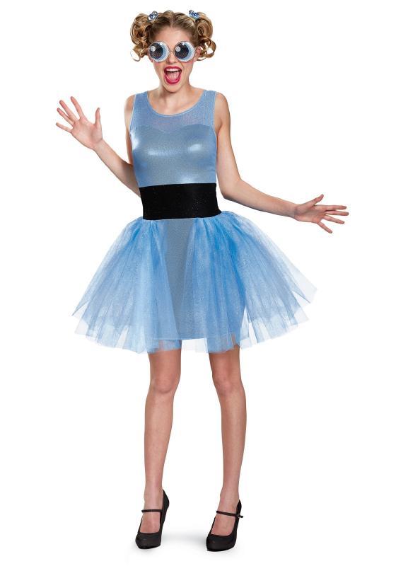 パワーパフガールズ バブルス デラックス レディースコスチューム 3点セット 女性用 コスプレ衣装 (二次会、仮装、パーティー、ハロウィン)大人女性用