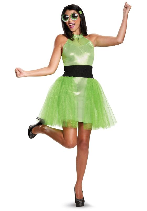 パワーパフガールズ バターカップ デラックス レディースコスチューム 3点セット 女性用 コスプレ衣装 (二次会、仮装、パーティー、ハロウィン)大人女性用