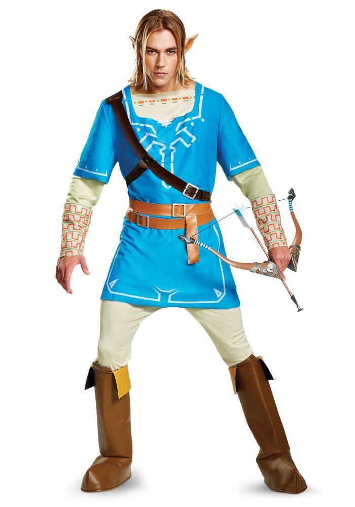 ゼルダの伝説 ブレスオブザワイルド デラックス リンク メンズコスチューム 4点セット 男性用 コスプレ衣装 (二次会、仮装、パーティー、ハロウィン)大人男性用