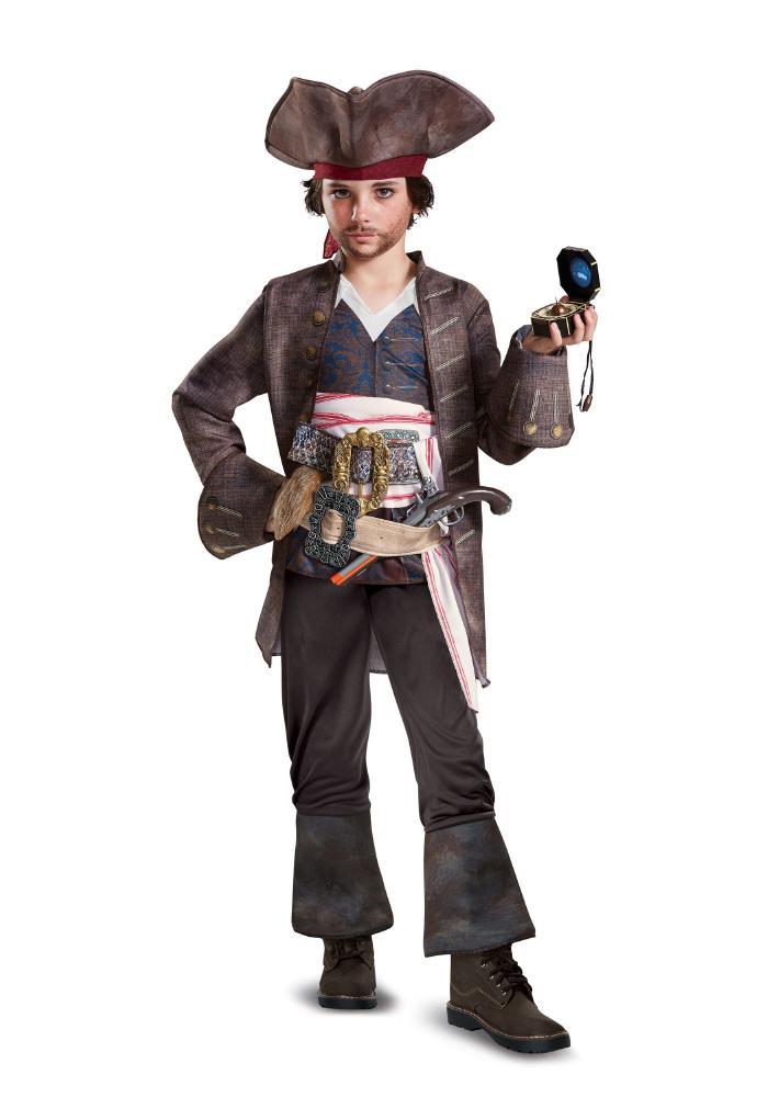 デラックス キャプテンジャック・スパロウ ボーイズコスチューム 4点セット 子供用 コスプレ衣装 (仮装、ハロウィン)