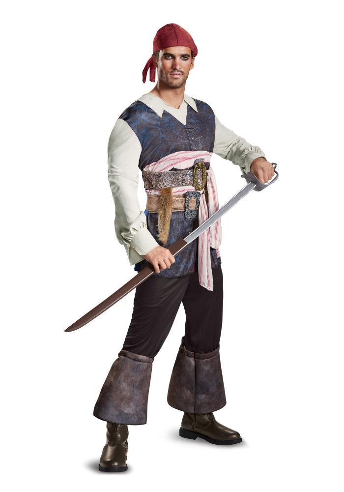 カリブの海賊 キャプテンジャック・スパロウ クラシック メンズコスチューム 3点セット 男性用 コスプレ衣装 (二次会、仮装、パーティー、ハロウィン)大人男性用
