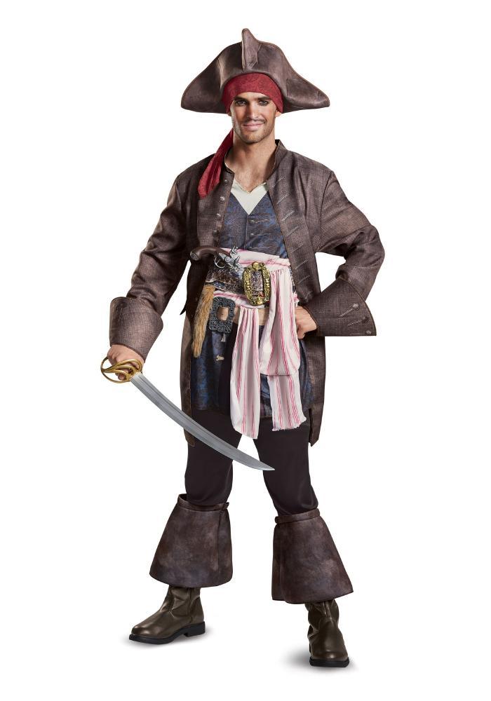 デラックス キャプテンジャック・スパロウ メンズコスチューム 4点セット 男性用 コスプレ衣装 (二次会、仮装、パーティー、ハロウィン)大人男性用