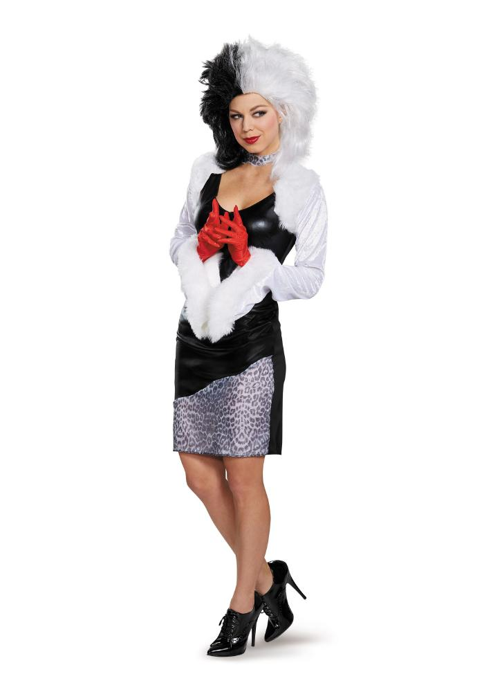 ディズニー 101匹わんちゃん クルエラ デビル レディースコスチューム 4点セット 女性用 コスプレ衣装 (二次会、仮装、パーティー、ハロウィン)大人女性用