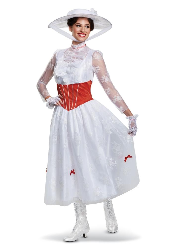 ウーマンズ デラックス メリー・ポピンズ コスチューム 4点セットコスプレ衣装  (二次会、結婚式、仮装、パーティー、宴会、ハロウィン) 女性