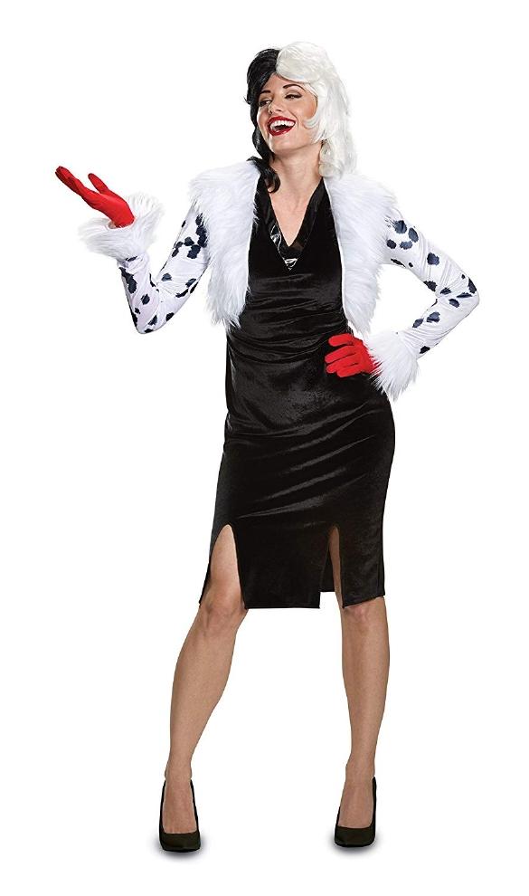 101匹わんちゃん クルエラ・デ・ビル デラックス レディース コスチューム 大人用 3点セットディズニー コスプレ衣装 かわいい (二次会、結婚式、仮装、パーティー、宴会、ハロウィン) 大人女性