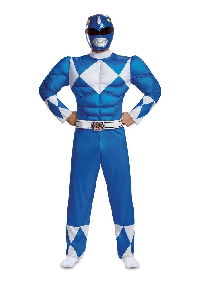 パワーレンジャー ブルーレンジャー メンズ マッスルコスチューム 2点セットコスプレ衣装 (二次会、結婚式、仮装、パーティー、宴会、ハロウィン) 大人男性
