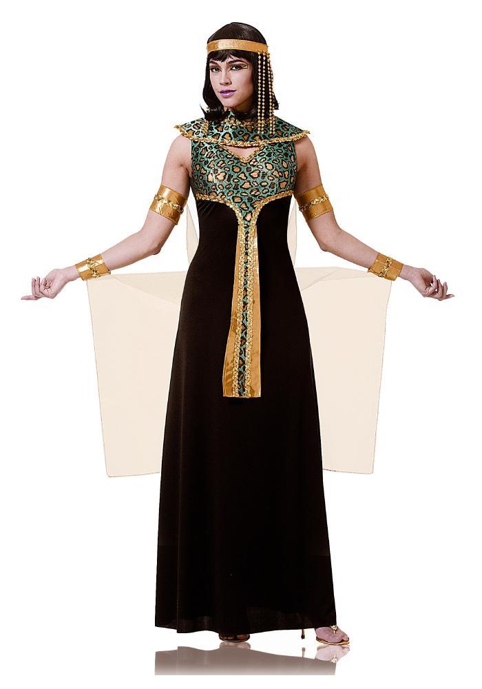 アダルト ブラック&ティール クレオパトラ レディースコスチューム 4点セット ハロウィンコスチューム  女性用 コスプレ衣装 (二次会、仮装、パーティー、ハロウィン)大人女性用