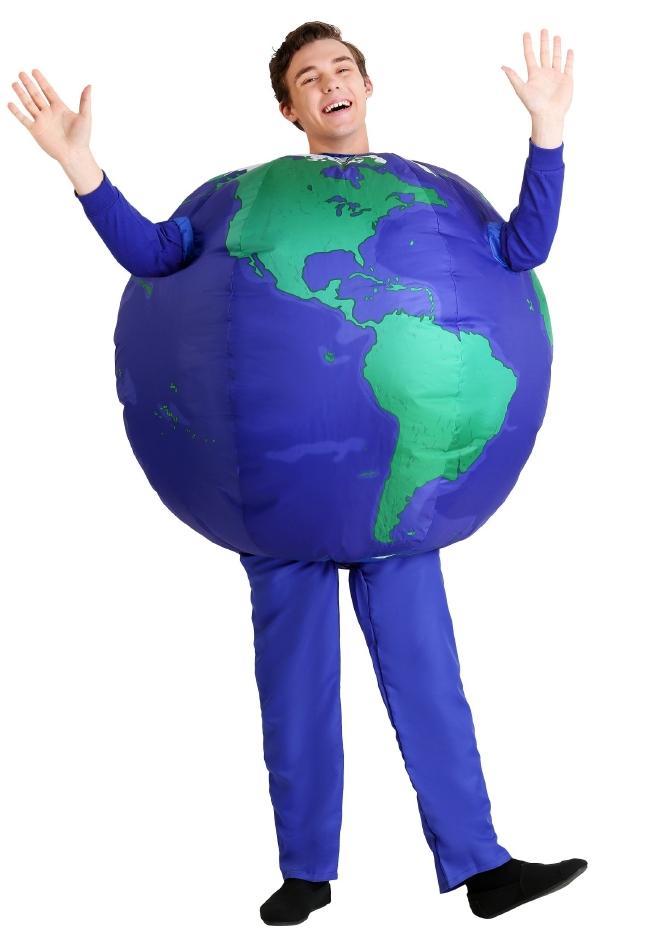 インフレータブル アース 地球 大人用 ハロウィン チュニック コスチューム 仮装 男性