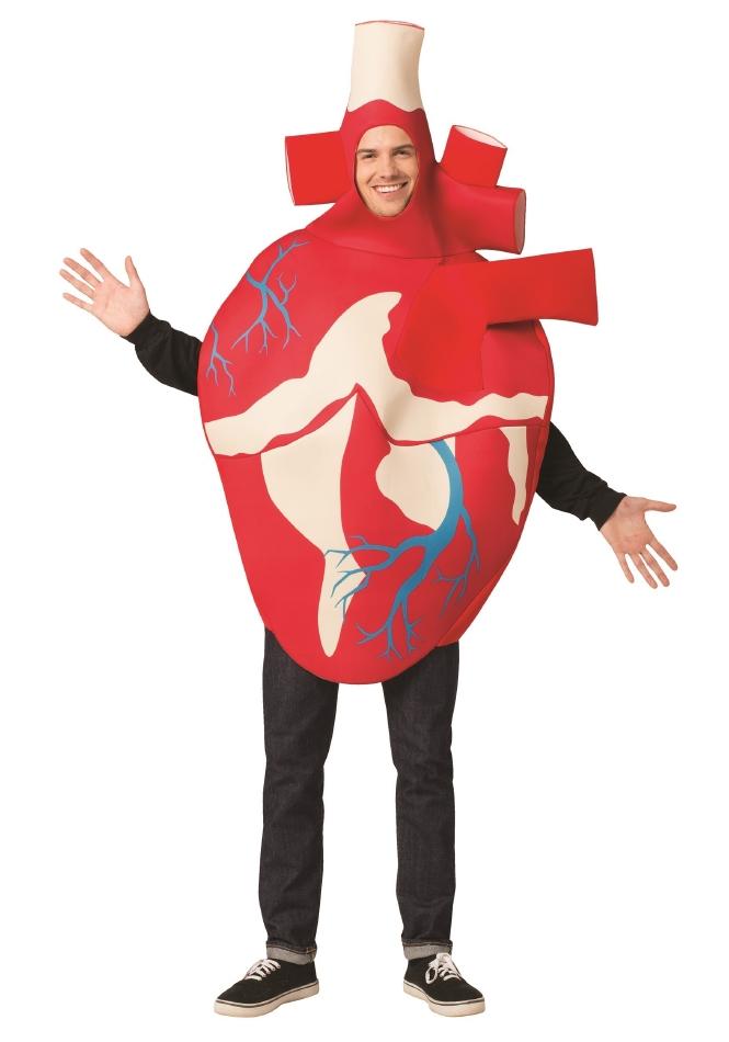 リアリスティック ハート 心臓 リアル 大人用 ハロウィン コスチューム チュニック 大人男性