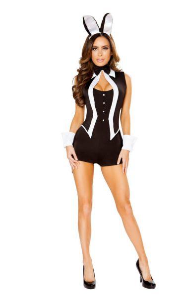 タキシードバニー レディースコスチューム 4点セット 女性用 コスプレ衣装 (二次会、仮装、パーティー、ハロウィン)大人女性用