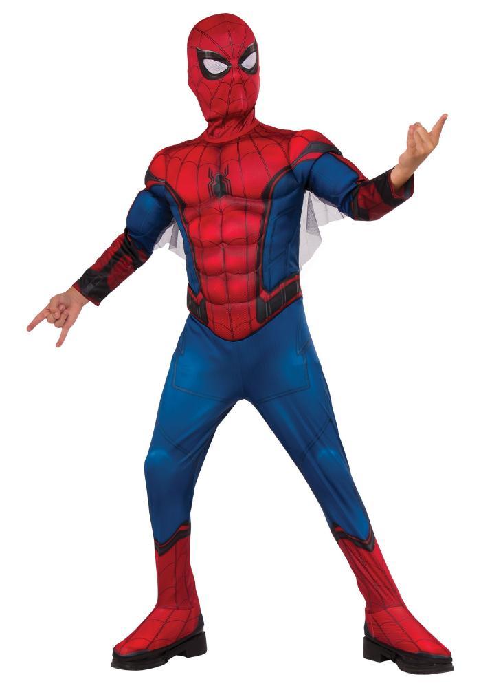 ボーイズデラックススパイダーマンコスチューム 2点セット 子供用 コスプレ衣装 (仮装、ハロウィン)