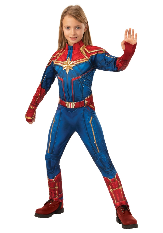 デラックス キャプテンマーベル キッズ用コスチューム ハロウィン コスチューム 仮装 3点セット 子供用女の子