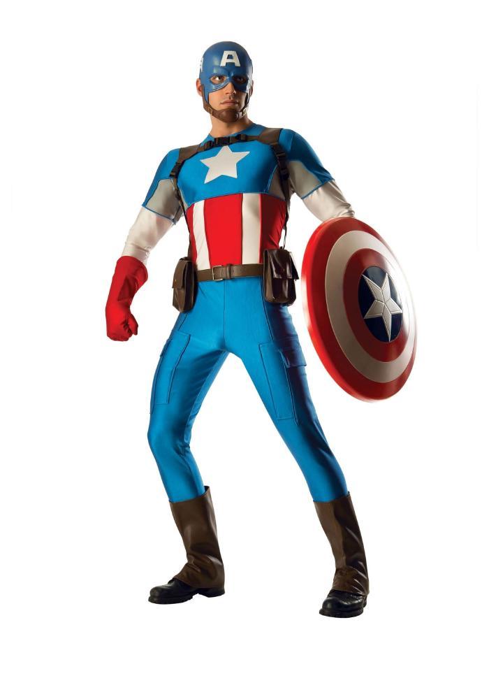 キャプテンアメリカ グランド ヘリテージ メンズコスチューム 6点セット 男性用 コスプレ衣装 (二次会、仮装、パーティー、ハロウィン)大人男性用