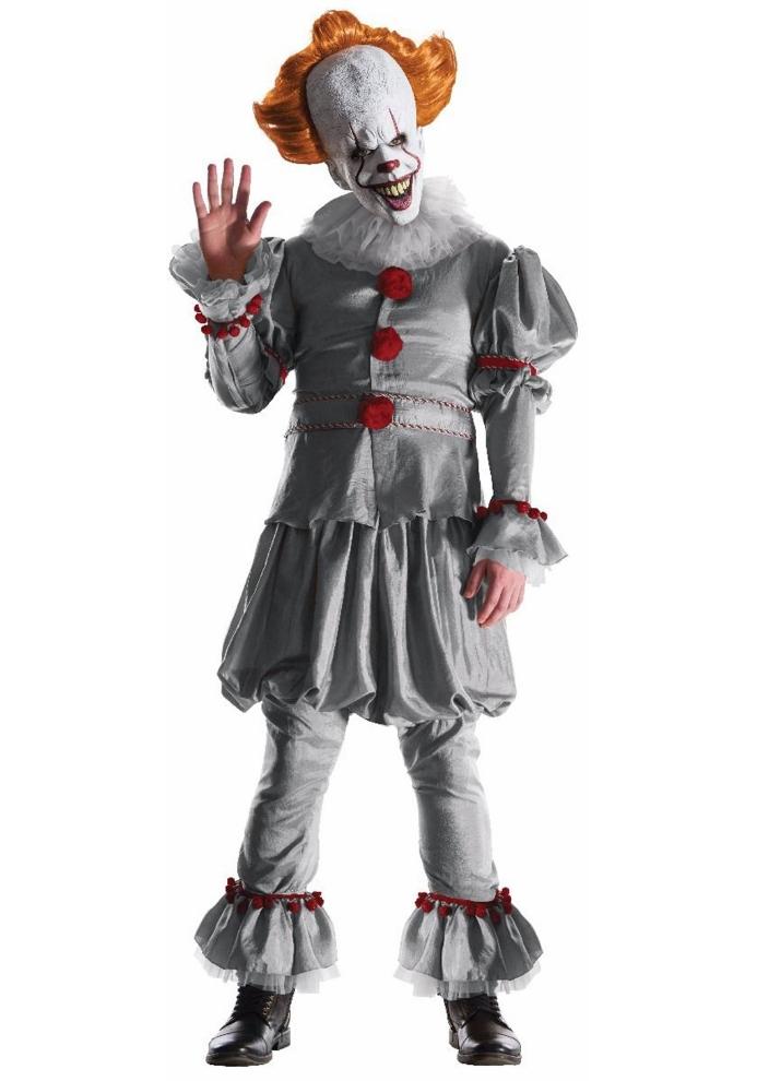 グランドヘリテージ ペニーワイズ ムービー コスチューム 大人用 4点セットコスプレ衣装 (二次会、結婚式、仮装、パーティー、宴会、ハロウィン) 大人男性