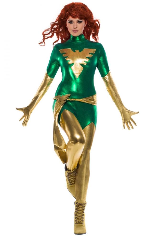 X-MEN フェニックス 大人用コスチューム 2点セットコスプレ衣装 かわいい (二次会、結婚式、仮装、パーティー、宴会、ハロウィン) 大人女性