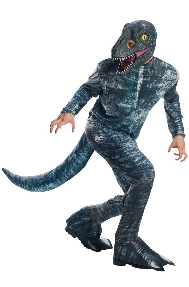 ジュラシック・ワールド ヴェロキラプトル ブルー 大人用コスチューム 3点セットコスプレ衣装 かわいい (二次会、結婚式、仮装、パーティー、宴会、ハロウィン) 大人男性