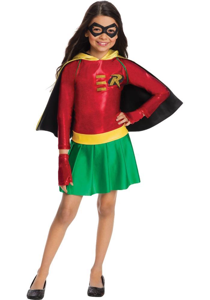 ティーン・タイタンズ ロビン ガールズコスチューム 4点セット 子供用 コスプレ衣装 (仮装、ハロウィン)