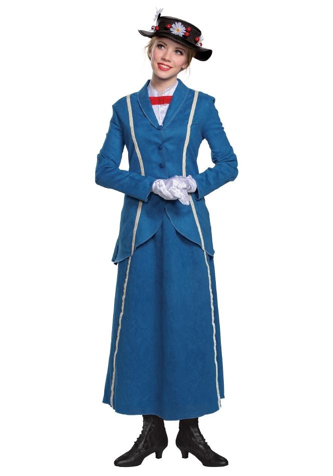 メリー・ポピンズ ブルーコート ハロウィンコスチュームレディース用 4点セット 大人女性