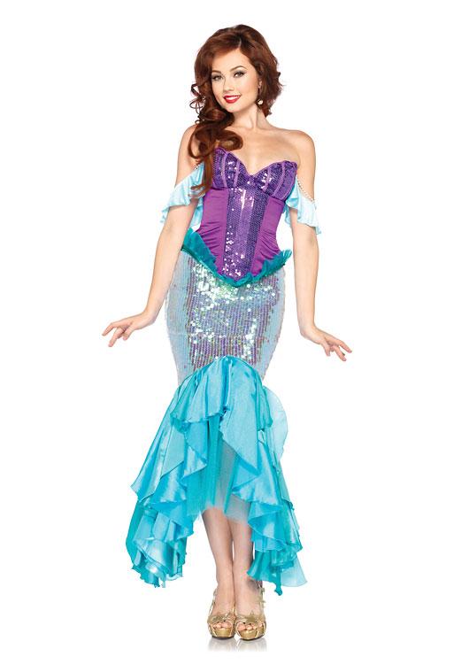ディズニー デラックスアリエル 3ピースセット ディズニーコスチューム コスプレ衣装 (二次会、結婚式、仮装、パーティー、宴会、ハロウィン) 女性 大人用