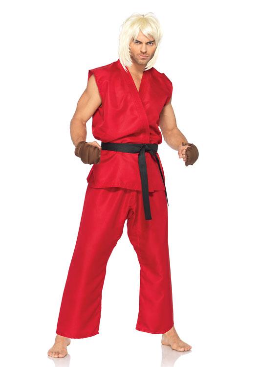 ストリートファイター ケン 4ピースセット コスチューム コスプレ衣装 (二次会、結婚式、仮装、パーティー、宴会、ハロウィン) 男性 大人用