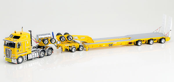 Kenworth K200 Prime Mover with Drake 2x8 Dolly and 3x8 Swingwing Trailer in Chrome Yellow トラック トレーラー /DRAKE 建設機械模型 工事車両 1/50 ミニチュア