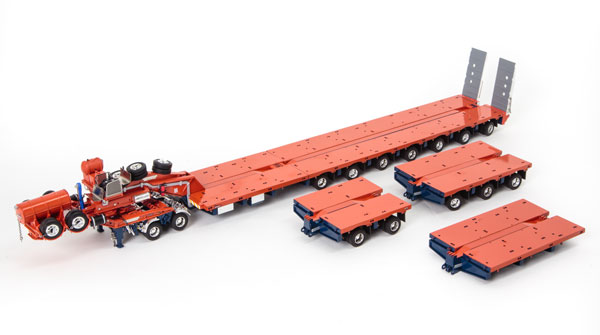 Drake 2x8 Dolly and 7x8 Steerable Low Loader Trailer PLUS Accessory Pack in Orange and Blue: 2x8 Deck, 3x8 Deck and Drop in Deck Section トレーラーアクセサリーセット /DRAKE 建設機械模型 工事車両 1/50 ミニチュア