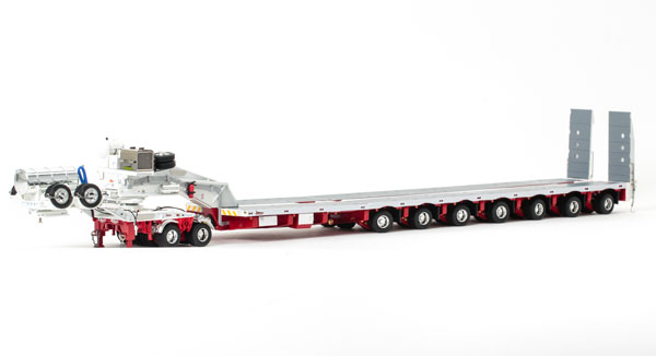 Drake 2x8 Dolly and 7x8 Steerable Low Loader Trailer in White and Red トレーラー /DRAKE 建設機械模型 工事車両 1/50 ミニチュア