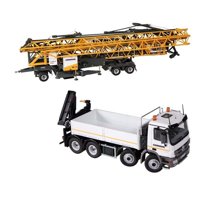 MERCEDES BENZ ACTROSメルセデスベンツアクトロス LIEBHERRリープヘル 81 K SET platform with crane /NZG 1/50 建設機械模型