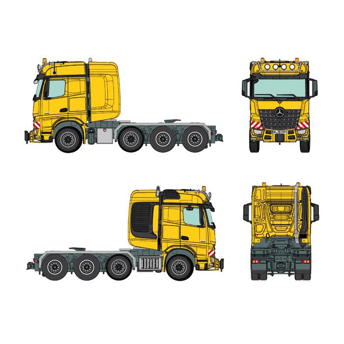 """【予約】MB Actrosメルセデスベンツアクトロス Big Space SLT """"yellow RAL 1007"""" トラック トラクタヘッド /NZG 建設機械模型 工事車両 1/50 ミニチュア"""