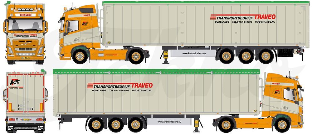 【予約】2017年6-8月以降発売予定Traveo Volvo FH04 Globetrotter with Cargo フロアトレーラー  Teknoテクノ 建設機械模型 工事車両 1/50 ミニチュア