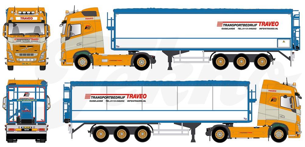 【予約】2017年6-8月以降発売予定Traveo Volvo FH04 Globetrotter with potato-セミトレーラー  Teknoテクノ 建設機械模型 工事車両 1/50 ミニチュア