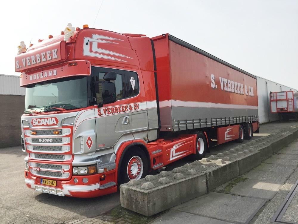 【予約】4-6月以降発売予定Verbeek, S. Scaniaスカニア R-serie Topline with curtainside semitrailerトラック 建設機械模型 工事車両 TEKNO 1/50 ミニチュア