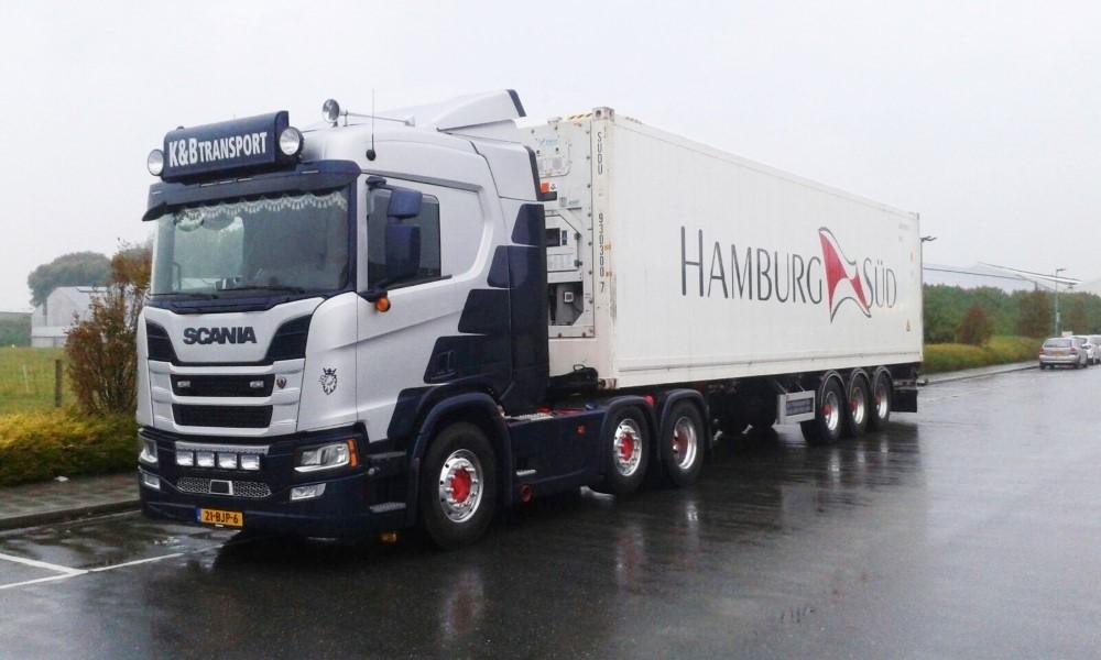 【予約】4-6月以降発売予定K&B Transport Scaniaスカニア NGS R410 4x2 with 3 axle flexitrailer and Hamburg Sud Reeferトラック 建設機械模型 工事車両 TEKNO 1/50 ミニチュア
