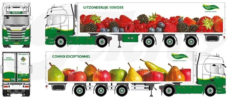 【予約】10-12月以降発売予定Greenery Hardfruit en zachtfruit Scaniaスカニア NGS R450 Highline avec 3軸 widespread semi-remorque frigoトラック 建設機械模型 工事車両TEKNO 1/50 ミニチュア