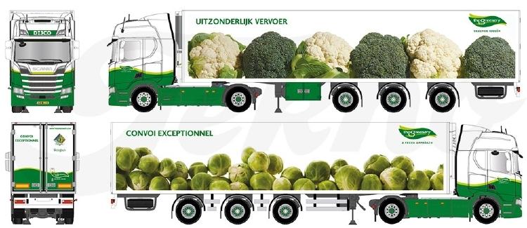 【予約】10-12月以降発売予定Greenery broccoli en spruiten Scaniaスカニア NGS R450 Highline avec 3軸 widespread semi-remorque frigoトラック 建設機械模型 工事車両TEKNO 1/50 ミニチュア