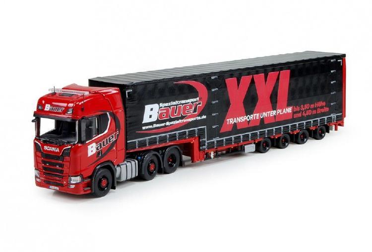 Bauer Spezialtransporte Scaniaスカニア S-Serie Highline with 4軸 Meusburgerトレーラー 建設機械模型 工事車両TEKNO 1/50 ミニチュア