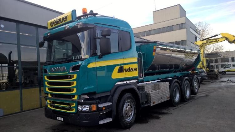 【予約】2019年7-9月以降発売予定Scania R rigid truck with hookarm + Asphalt Containerトラック /建設機械模型 工事車両 TEKNO 1/50 ミニチュア