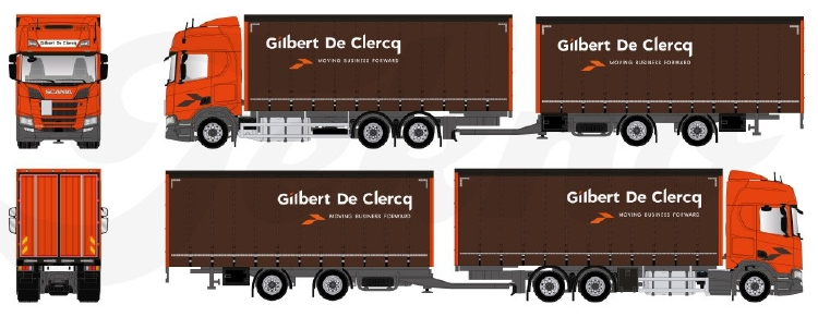 【予約】2019年6-8月以降発売予定Clercq, Gilbert Scania NGS R-serie Highline 6x2 riged Truck カーテンサイダーセミトレーラー トラック /建設機械模型 工事車両 TEKNO 1/50 ミニチュア