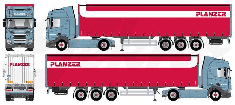 【予約】10-12月以降発売予定Planzer Scaniaスカニア NG R-serie Highline met schuifzeilen opleggerトラック 建設機械模型 工事車両TEKNO 1/50 ミニチュア