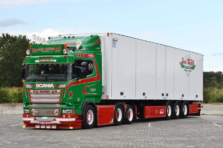 【予約】10-12月以降発売予定Scania R-serie 580 6x2 met 3-assige Ekeri koeloplegger トラック TEKNO 1/50 建設機械 模型ミニカー はたらく車重機